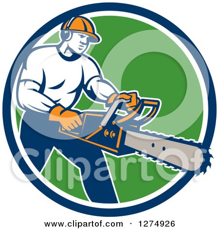 Clipart of a Retro Male Arborist Using a Chainsaw in a Blue White and Green Circle - Royalty Free Vector Illustration by patrimonio