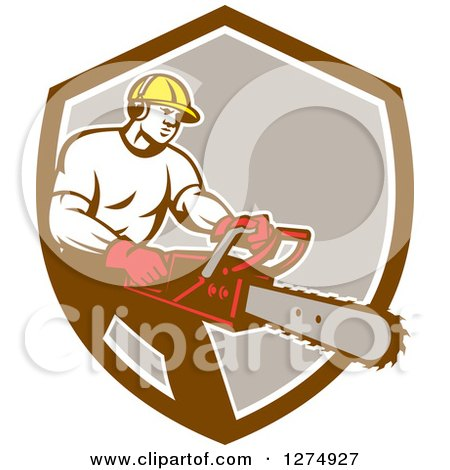 Clipart of a Retro Male Arborist Using a Chainsaw in a Brown White and Taupe Shield - Royalty Free Vector Illustration by patrimonio