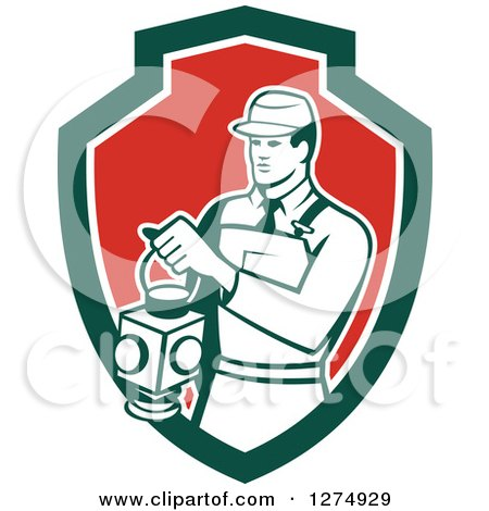 Clipart of a Retro Train Signaler Worker Man Holding a Lamp in a Green White and Red Shield - Royalty Free Vector Illustration by patrimonio