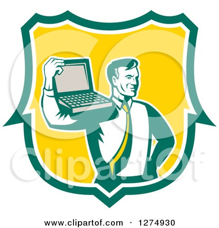 Clipart of a Retro Computer Repair or Business Man with a Laptop on His Shoulder in a Green White and Yellow Shield - Royalty Free Vector Illustration by patrimonio