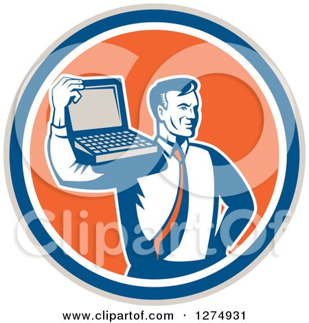 Clipart of a Retro Computer Repair or Business Man with a Laptop on His Shoulder in a Taupe Blue White and Orange Circle - Royalty Free Vector Illustration by patrimonio