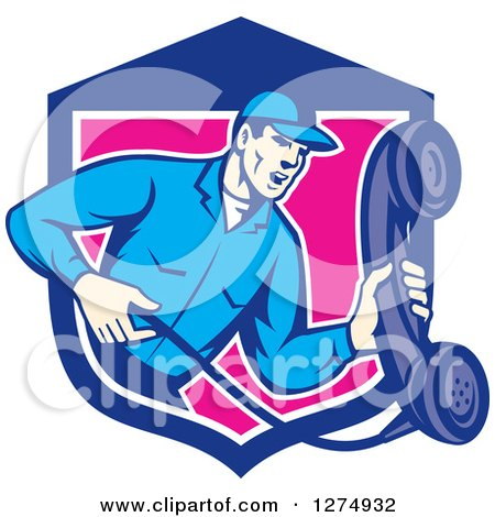 Clipart of a Retro Telephone Repair Man Holding out a Red Receiver in a Blue White and Pink Shield - Royalty Free Vector Illustration by patrimonio
