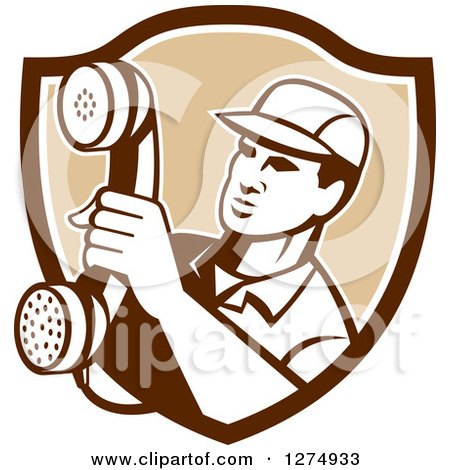 Clipart of a Retro Telephone Repair Man Holding out a Red Receiver in a Brown and White Shield - Royalty Free Vector Illustration by patrimonio