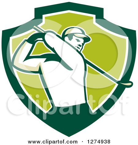 Clipart of a Retro Male Golfer Swinging in a Green and White Shield - Royalty Free Vector Illustration by patrimonio