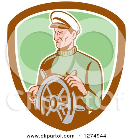 Clipart of a Retro Male Sea Captain at the Wheel in a Brown White and Green Shield - Royalty Free Vector Illustration by patrimonio