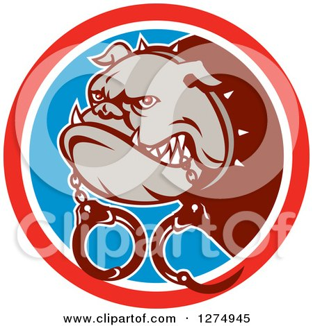 Clipart of a Guard Bulldog with Handcuffs in a Red White and Blue Circle - Royalty Free Vector Illustration by patrimonio