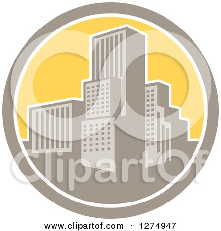 Clipart Of A Retro City In A Tan White And Yellow Circle Royalty Free Vector Illustration