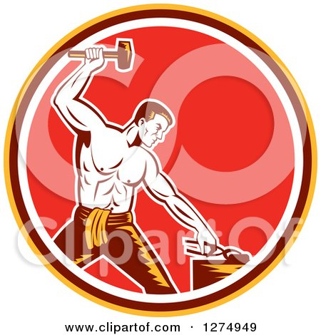 Clipart of a Retro Woodcut Blacksmith Hammering in a Yellow Brown White and Red Circle - Royalty Free Vector Illustration by patrimonio