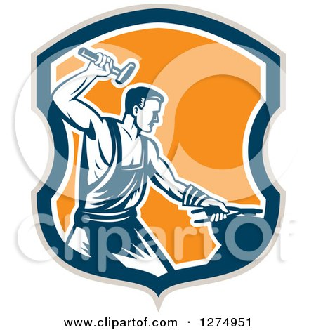 Clipart of a Retro Woodcut Blacksmith Hammering in a Taupe Blue White and Orange Shield - Royalty Free Vector Illustration by patrimonio
