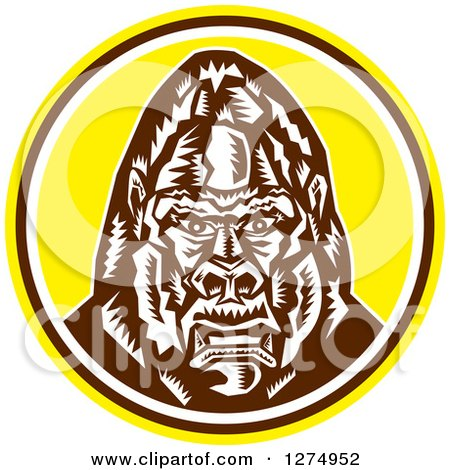 Clipart of a Retro Woodcut Angry Gorilla Head in a Yellow Brown and White Circle - Royalty Free Vector Illustration by patrimonio