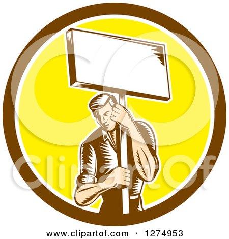 Clipart of a Retro Woodcut Male Worker Holding a Placard Sign Post in a Brown White and Yellow Circle - Royalty Free Vector Illustration by patrimonio