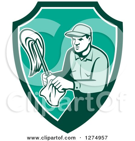 Clipart of a Retro Male Janitor with a Mop and Wipes in a Green and White Shield - Royalty Free Vector Illustration by patrimonio