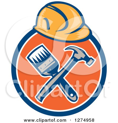 Retro Hardhat over a Crossed Hammer and Paintbrush in a Blue White and Orange Circle Posters, Art Prints