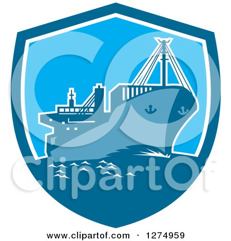 Clipart of a Retro Blue Cargo Ship in a Shield - Royalty Free Vector Illustration by patrimonio