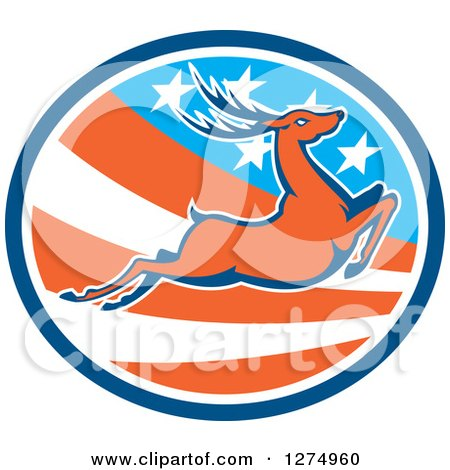 Clipart of a Retro Leaping Deer in a Blue White and American Flag Oval - Royalty Free Vector Illustration by patrimonio