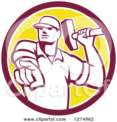 Clipart of a Retro Demolition Worker Man Holding a Hammer and Pointing Outwards in a Maroon White and Yellow Circle - Royalty Free Vector Illustration by patrimonio