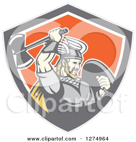Clipart of a Retro Blond Male Viking Warrior Swinging an Axe in a Gray Taupe White and Orange Shield - Royalty Free Vector Illustration by patrimonio