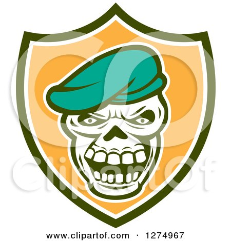 Clipart of a Retro Skull Wearing a Beret Hat in a Green White and Orange Shield - Royalty Free Vector Illustration by patrimonio