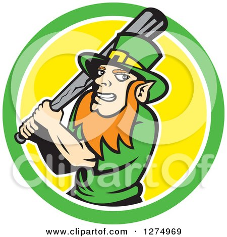 Clipart of a Leprechaun Baseball Player Holding a Bat in a Green White and Yellow Circle - Royalty Free Vector Illustration by patrimonio