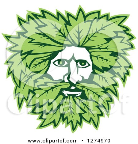 Clipart of a Green Man Face with Leaves - Royalty Free Vector Illustration by patrimonio