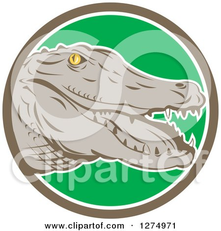 Clipart of a Retro Alligator Head in a Taupe White and Green Circle - Royalty Free Vector Illustration by patrimonio