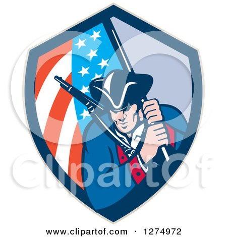 Clipart of a Retro Revolutionary Soldier Minute Man with an American Flag in a Shield - Royalty Free Vector Illustration by patrimonio