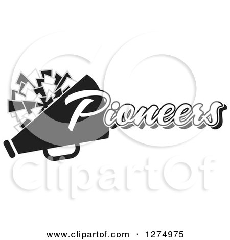 Clipart of a Grayscale Pioneers Team Cheerleader Megaphone and Pom Pom Design - Royalty Free Vector Illustration by Johnny Sajem