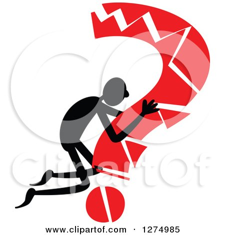 Clipart of a Black Stick Man Hugging a Broken Red Question Mark - Royalty Free Vector Illustration by Prawny