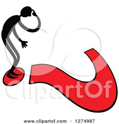 Clipart of a Black Stick Man Standing on a Giant Red Question Mark - Royalty Free Vector Illustration by Prawny