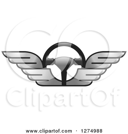 Clipart of a Race Car Steering Wheel with Silver Wings - Royalty Free Vector Illustration by Lal Perera