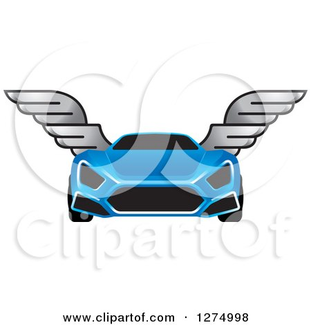 Clipart of a Blue Sports Car with Window Tint and Wings - Royalty Free Vector Illustration by Lal Perera