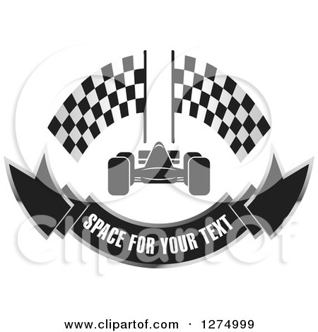 Clipart of a Race Car with Racing Flags and a Banner Design - Royalty Free Vector Illustration by Lal Perera
