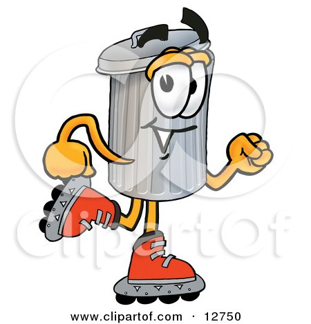 Clipart Picture of a Garbage Can Mascot Cartoon Character Roller Blading on Inline Skates by Toons4Biz