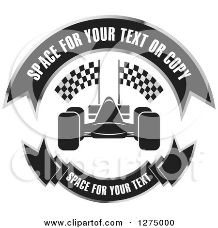 Clipart of a Race Car with Banners Design - Royalty Free Vector Illustration by Lal Perera