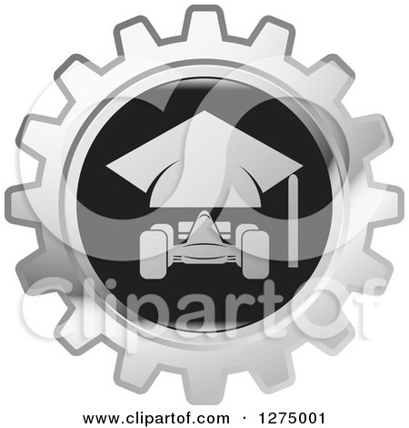 Clipart of a Silver and Black Race Car Gear Icon - Royalty Free Vector Illustration by Lal Perera
