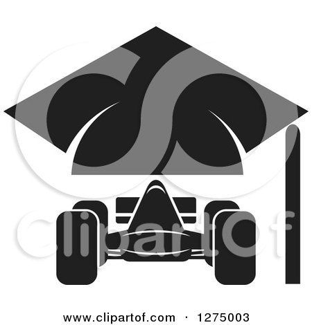 Clipart of a Black and White Race Car and Graduation Cap Design - Royalty Free Vector Illustration by Lal Perera