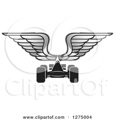 Clipart of a Black Race Car and Silver Wings - Royalty Free Vector Illustration by Lal Perera