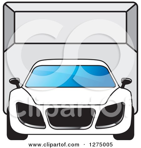 Clipart of a Sports Car or Van in a Room - Royalty Free Vector Illustration by Lal Perera