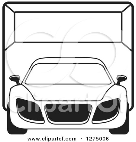 Clipart of a Black and White Sports Car or Van in a Room - Royalty Free Vector Illustration by Lal Perera
