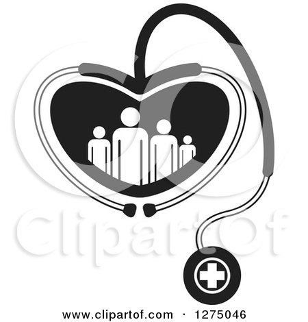 Clipart of a Black and White Medical Stethoscope Forming a Heart Around a Family - Royalty Free Vector Illustration by Lal Perera