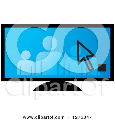 Clipart of a Cursor over a Family on a Blue Screen - Royalty Free Vector Illustration by Lal Perera