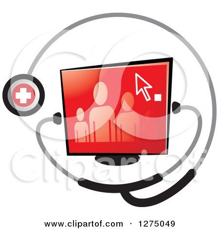 Clipart of a Medical Stethoscope Around a Family on a Red Screen - Royalty Free Vector Illustration by Lal Perera