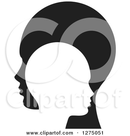 Clipart of Silhouetted Black and White Child and Parent Heads - Royalty Free Vector Illustration by Lal Perera