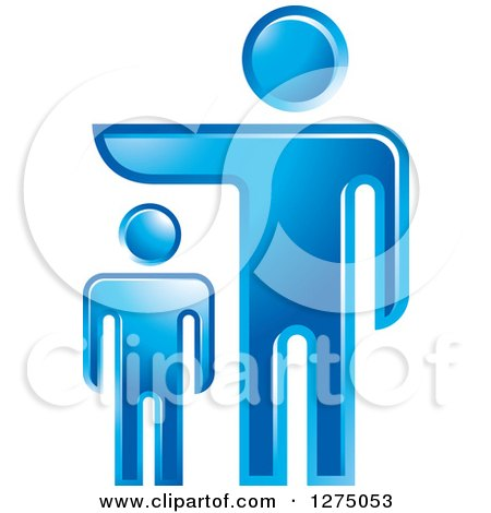 Clipart of a Blue Father or Boss over a Pointing over a Smaller Man - Royalty Free Vector Illustration by Lal Perera