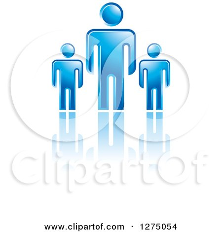 Clipart of a Blue Father or Boss with Smaller Men or Children - Royalty Free Vector Illustration by Lal Perera