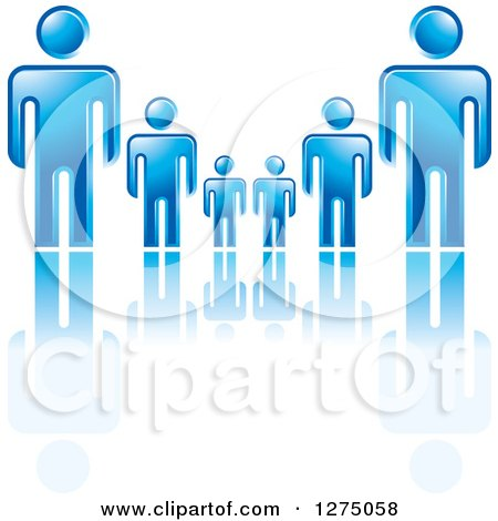 Clipart of Blue Fathers or Bosses over a Smaller Men or Children - Royalty Free Vector Illustration by Lal Perera