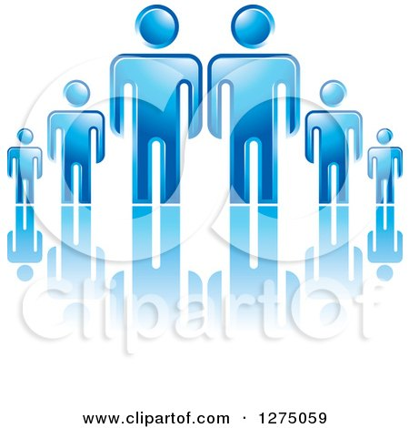 Clipart of Blue Fathers or Bosses over a Smaller Men or Children 2 - Royalty Free Vector Illustration by Lal Perera