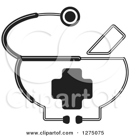Clipart of a Black and White Medical Stethoscope Around a Cross - Royalty Free Vector Illustration by Lal Perera