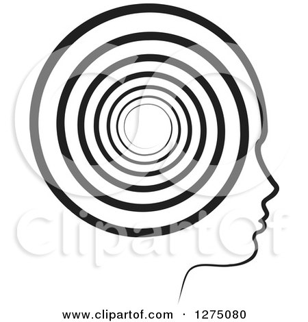 Clipart of a Silhouetted Black and White Head in Profile, with a Spiral - Royalty Free Vector Illustration by Lal Perera