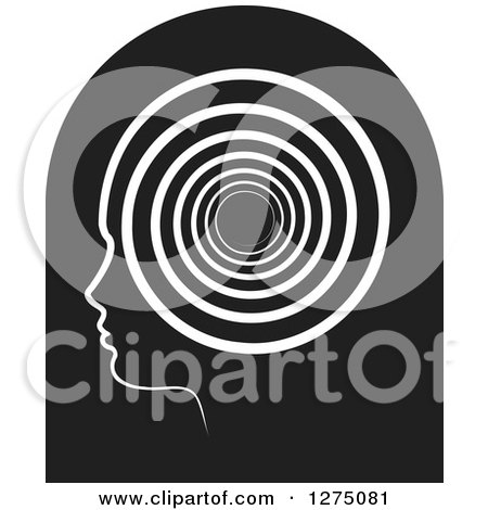 Clipart of a Silhouetted Black Head in Profile Icon with a Spiral - Royalty Free Vector Illustration by Lal Perera